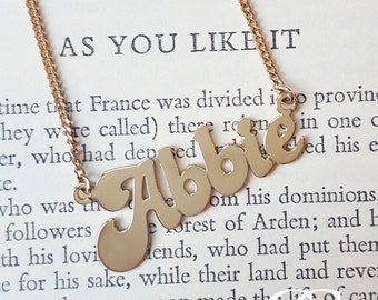 Personalised Solid 9ct Gold Name Plate Necklace MADE TO ORDER