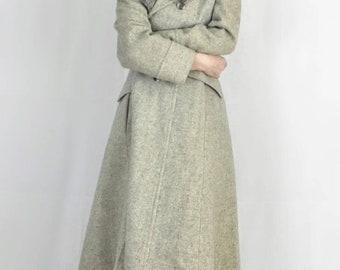 LOLA MAY | vintage coat | city coat | fox fur | pea coat | 70s coat | herringbone | wool | grey coat | long jacket