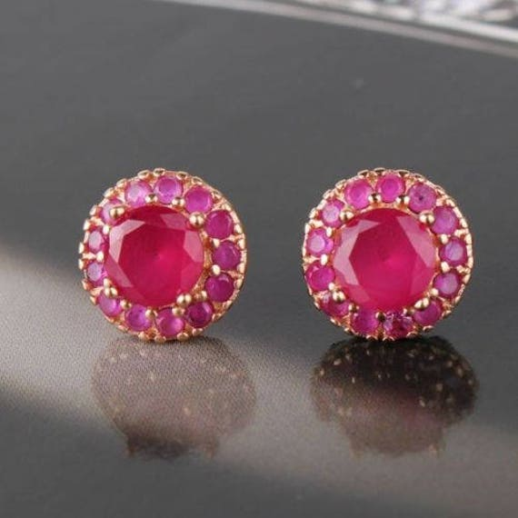Lovely 18 ct rose gold filled natural ruby stud earrings