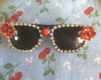 Jeweled clear rhinestone sunglasses with flowers/blue frames