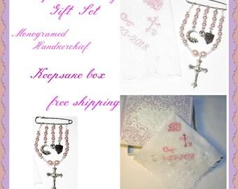 Baby girl's   Rosary  keepsake colors  cream   pink  Swarovski pearl beads-