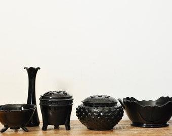 Vintage Black Amethyst Glass Lot Flower Frog Urn Bowl Vase Home Decor Collectible Display