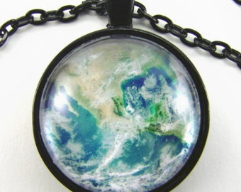 EARTH BLUE MARBLE Necklace -- North America from space, Science technology art, Gift for him or her.  Physics art ,  Astronomy necklace