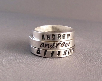 Personalized Ring - Name Ring - Custom Stamped Ring - Mothers Ring