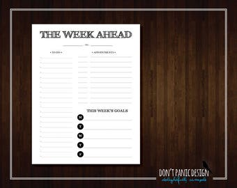 Rustic Black Printable Weekly Planner Page - Appointment Planner, Meal Planner, Grocery List, To Do List, Weekly Schedule - Instant Download