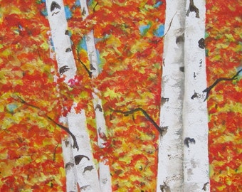 Birch Tree Print, Birch Tree Wall Art, Tree Home Decor, Birch Tree Painting, Birch Tree Watercolor, Autumn Trees Art, Fall Leaves Home Decor