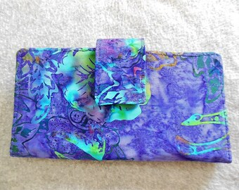 Fabric Wallet - Purple and Blue Batik