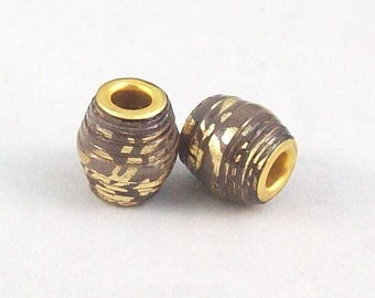 Paper Barrel Beads Handmade with Brown and Gold Paper and Gold Grommet - Sold in Pairs -12 Pairs Available