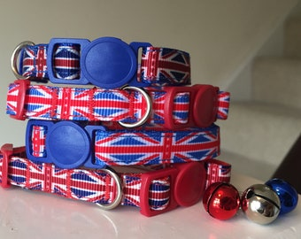 Union Jack Patriotic British Flag Cat/Kitten Collar - (Quick Release) Two colour options