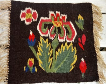 small Scandinavian Swedish multicolor handwoven wall hanging in flemish technique from 1960s.