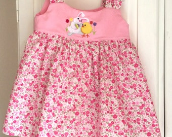 Toddler Girl's pink floral dress with embroidered Easter bunny and chick size 3