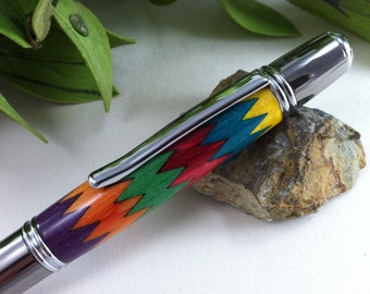 "Personalized ""In Stitches"" Vibrant Wood Inlay Writing Pen - Free Engraving"