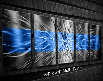 Contemporary Metal Wall Art Blue Wavy Electric