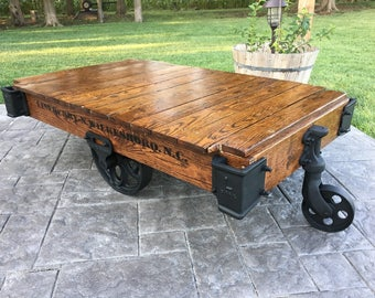 Linebery Factory Cart / Railroad Cart Coffee Table