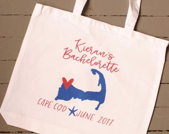 Personalized Cape Cod Bachelorette Party Totes - Wedding Welcome Bags, Bachelorette Gifts, Bachelorette Party Favors, Any Location Available