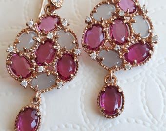 925 silver earrings with moonstones and pink tourmaline, Italian jewellery