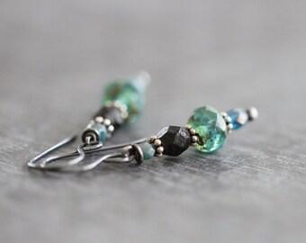 Aqua Blue, Teal, Brown, Czech, Glass, Earrings, Boho, Rustic, Sterling Silver, Dangle Earrings, Glass Earrings, Cottage Chic