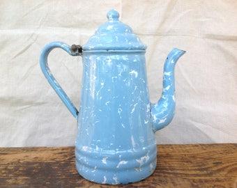 Antique Enamelware Graniteware French Blue Austrian Coffee Pot