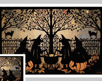Halloween Greeting Card | Witches Casting Spells | Brewing Potions