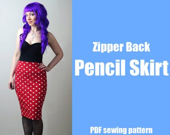 Zipper Back Pencil Skirt - Printable PDF Pattern