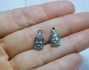 15x8mm - Buddha Charms - Metal Charms - Silver Charms - Buddha Head Charms - Buddha Face Charms -  Antique Silver - 5pcs - (4568)