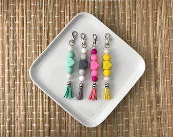 Silicone beaded keychain