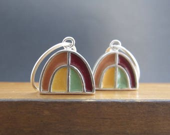 Half Dome Earrings - Reversible Silver and Enamel Lever Back Earrings - California Colors