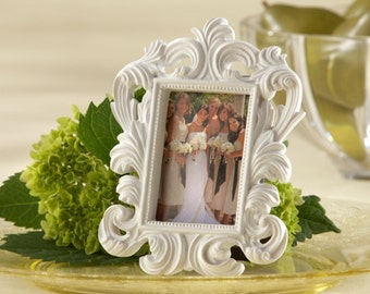 White Baroque Frame Place Card Holders-Set of 6