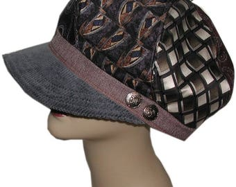 Neckties Upcycled Newsboy Hat, Recycled Neckties Hat, Newsboy Hat, Blue And Brown Newsboy Hat, Silk Hat, Recycled Newsboy Hat With Buttons