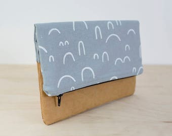 Washable paper foldover clutch. Vegan leather clutch. Gifts for her. Zipper pouch. Handbag. Clutch wallet.
