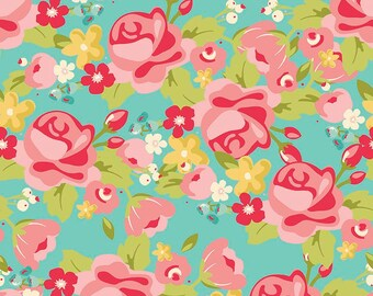 Roses on Mint Hello Gorgeous Fat Quarter Cotton Fabric by Riley Blake (UK)