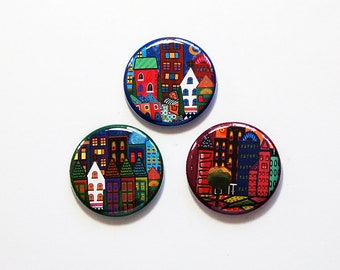 Colored Houses Magnets, Funny Colored Houses, Magnet Trio, Stocking stuffer, Colorful Magnets, Strong Magnets, funny houses (8716)
