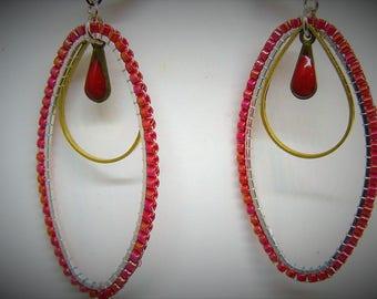 Brick stitch on metal earrings