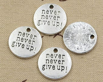 Never Never Give Up Affirmation Energy Jewelry Necklace - Reiki Charged and Full Moon Cleansed