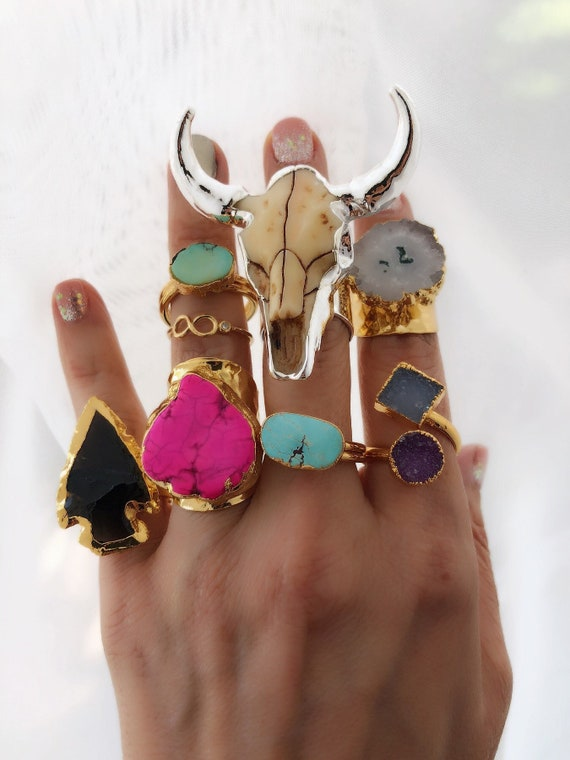 Boho Rings, Festival Jewelry, Turquoise Ring, Longhorn, statement rings, druzy ring, geode jewelry