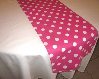 Hot Pink Polka Dot Table Runner - Birthday party, Wedding, Baby Shower, Bridal Shower, Minnie Mouse Party.Lemonade Party