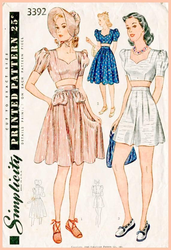 1940s 40s vintage sewing pattern crop top playsuit skirt high