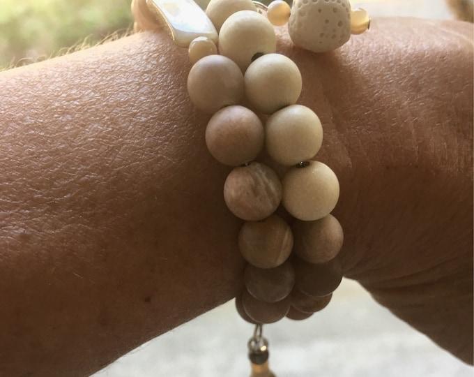 Sunstone-Mala-May wrap around mala/prayer bead bracelet
