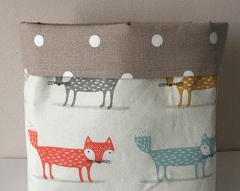 Fabric Basket, Organiser, storage basket, fox print fabric, baby gift,