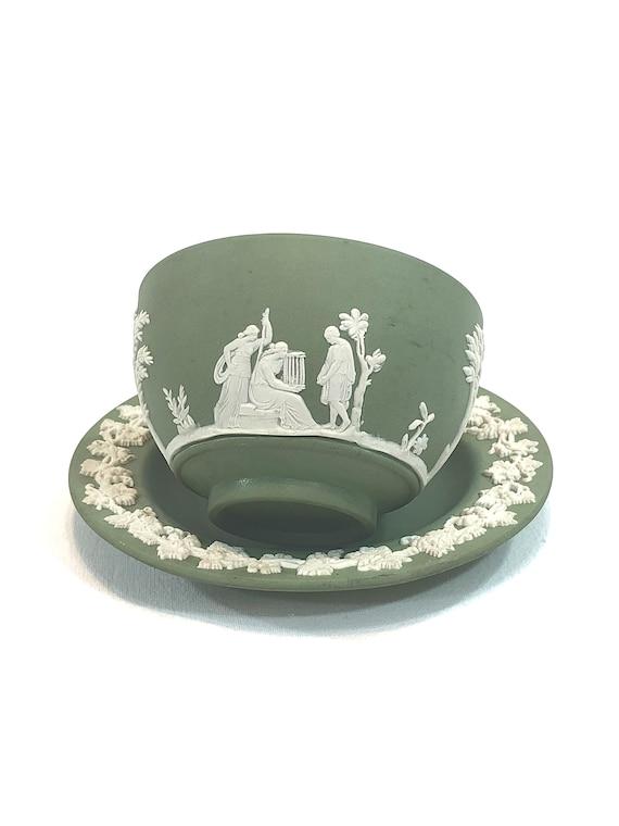 Wedgwood Green Jasperware Demitasse Cup Saucer, White Embossed Palm Trees Ivy Leaves, Antique Celadon Jasperware Tea Bowl, 1891 1908,