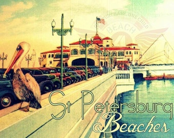 Travel Art, St Petersburg Florida art, St Pete Pier, Travel Gifts, St Pete Beach Art, Old Florida Art 8x10 vintage St Petersburg Florida art