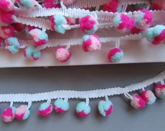 Mint Fushia and Pink Pom Pom Trim Braid
