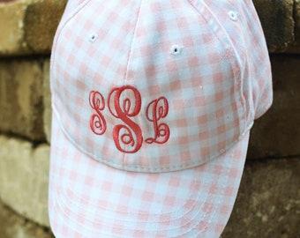 FREE SHIPPING!  Monogram Baseball Hat, Gingham Baseball Cap