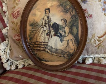 French Country Girl Paris  Lithograph picture Frame