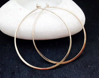 Thin Gold Hoops Hammered 14k Gold Filled Handmade Jewellery