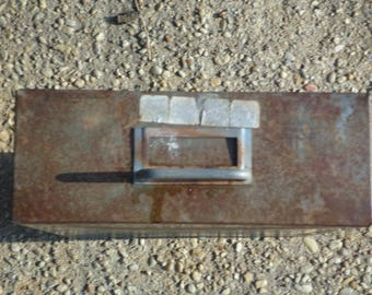 Rusty vintage Industrial metal tray rustic steampunk