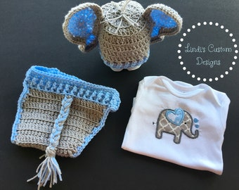 Baby Shower Gift Set, Boy Blue Gray Crochet Elephant Gift Set with Embroidered Bodysuit, Blue Gray Elephant Baby Gift, Hand Crochet Newborn