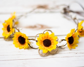 Sunflower Flower Girl Hair Wreath Tiara Sunflower Hair Barrette Sunflower Boho Wedding Hairband Hair accessories Sunflower Clip Wedding