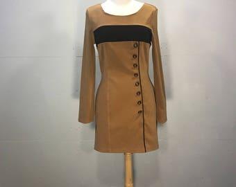 Vintage Grace Ultra Suede Dress,  80s Tan Mini Dress, Ultra Suede Dress. Asymmetrical Suede Dress
