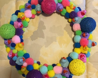 Fun Wreath Easter Colorful New Baby Shower Rubber Duckies Unique